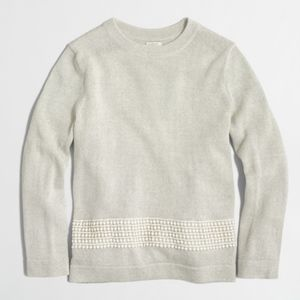JCREW Gray Embroidered Panel Sweater